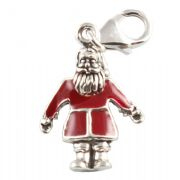 Red Santa Claus 3D Sterling Silver Clip On Charm - With Clasp
